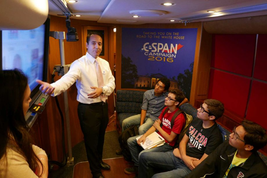 Stevens High School government students take spin on C-SPAN Bus